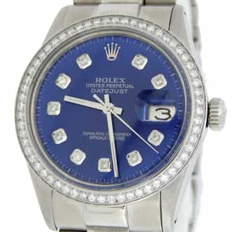 Mens Rolex Stainless Steel Datejust Diamond Blue (SKU 6429104MT)