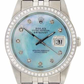 Mens Rolex Stainless Steel Datejust Blue MOP Diamond (SKU X416871M)