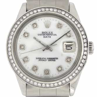 Mens Rolex Stainless Steel Date White MOP Diamond (SKU 3747276MT)
