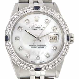 Mens Rolex Stainless Steel Datejust White MOP Diamond (SKU 6113047MT)