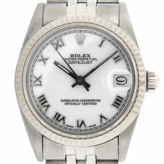 Mid Size Rolex Stainless Steel Datejust White Roman 68274 (SKU 8250906MT)