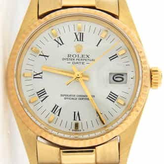 Mens Rolex 14K Yellow Gold Date White Roman 1503 (SKU 8946090MT)