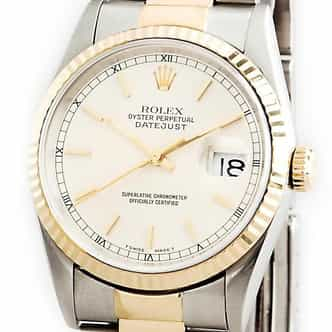 Mens Rolex Two-Tone 18K/SS Datejust White 16233 (SKU 16233TMT)