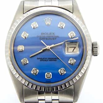 Mens Rolex Steel Datejust Blue MOP Diamond 1603 (SKU 1603BLDMT)