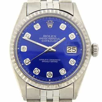 Mens Rolex Stainless Steel Datejust Blue Diamond 1603 (SKU 2391772JMT)