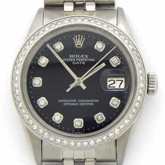 Mens Rolex Stainless Steel Date Black Diamond (SKU 2220120DMT)