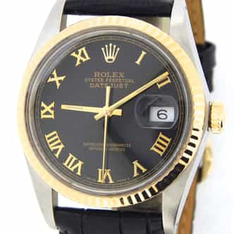 Mens Rolex Two-Tone 18K/SS Datejust Black Roman 16013 (SKU 9855342MT)