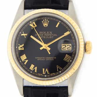 Mens Rolex Two-Tone 14K/SS Datejust Black Roman 1601 (SKU 3194840MT)