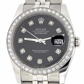 Mens Rolex Stainless Steel Datejust Black Diamond (SKU M116200MT)