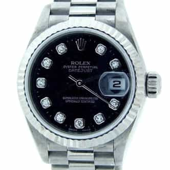 Ladies Rolex 18K White Gold Datejust President Black Diamond 69179 (SKU DJ4362MT)