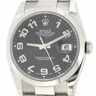 Mens Rolex Stainless Steel Datejust Black Arabic 116200 (SKU 116200BLKMT)
