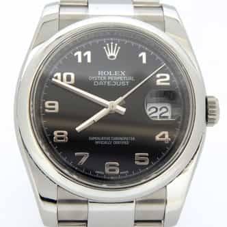 Mens Rolex Stainless Steel Datejust Arabic Black 116200 (SKU 116200ARMT)