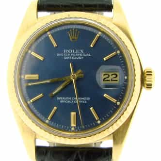 Mens Rolex 18K Yellow Gold Datejust Blue  1601 (SKU 4149078NBCMT)