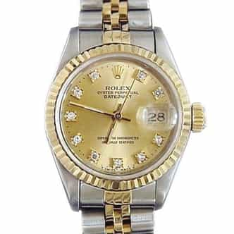 Ladies Rolex Two-Tone 18K/SS Datejust Champagne Diamond 69173 (SKU 8585275MT)