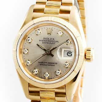 Ladies Rolex 18K Yellow Gold Datejust President Silver Diamond 69278 (SKU 69278DJMT)