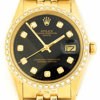 Mens Rolex 14K Yellow Gold Date Black Diamond 15037 (SKU 6716461DMT)