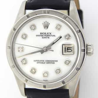 Mens Rolex Stainless Steel Date White MOP Diamond 15010 (SKU 7012603BLMT)