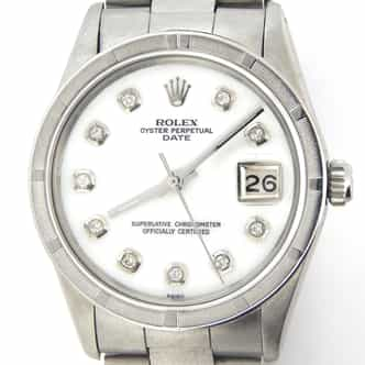 Mens Rolex Stainless Steel Date White MOP Diamond 15010 (SKU 7012603OBMT)