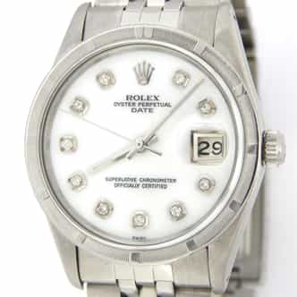 Mens Rolex Stainless Steel Date White MOP Diamond 15010 (SKU 6910522JBMT)