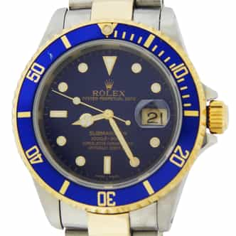 Mens Rolex Two-Tone Submariner Blue 16613 (SKU P431524MT)