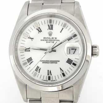 Mens Rolex Stainless Steel Date White Roman 15200 (SKU L495933MT)