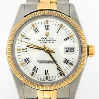 Mens Rolex Two-Tone 18K/SS Date White Roman 15053 (SKU 7212235MT)