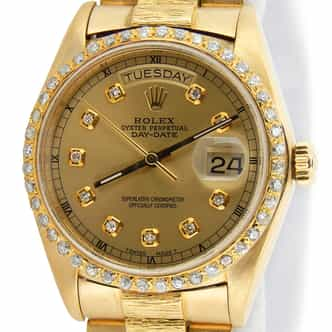 Mens Rolex 18K Gold Day-Date President Diamond 18078 (SKU 7437503MT)