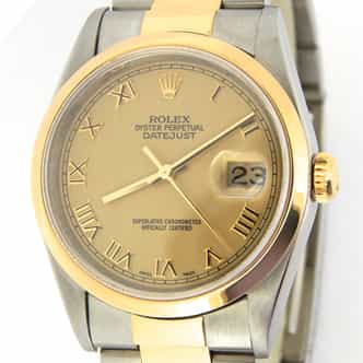 Mens Rolex Two-Tone Datejust Gold Roman 16203 (SKU 16203AMT)