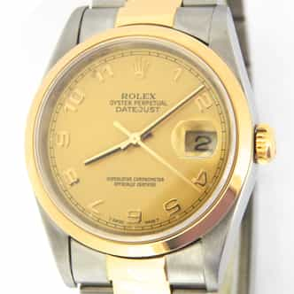 Mens Rolex Two-Tone 18K/SS Datejust Gold Champagne Arabic 16203 (SKU 16203ADOYSAMT)