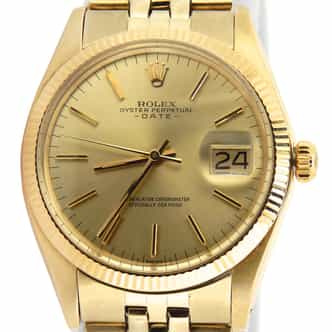 Mens Rolex 14K Yellow Gold Date Champagne 1503 (SKU 3099023MT)