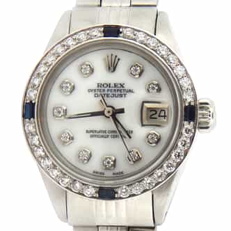 Ladies Rolex Stainless Steel Datejust Diamond Blue Sapphire (SKU 3917638MT)
