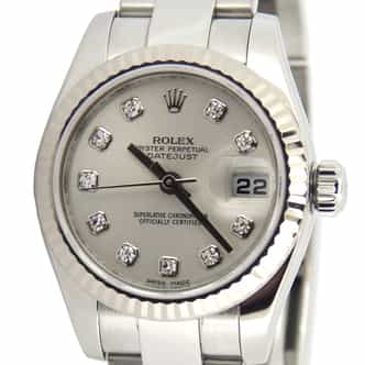 Ladies Rolex Stainless Steel Datejust Silver Diamond 179174 (SKU M732089MT)