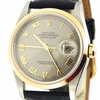 Mens Rolex Two-Tone Datejust Slate Gray Roman 16203 (SKU U233329BLKAMT)