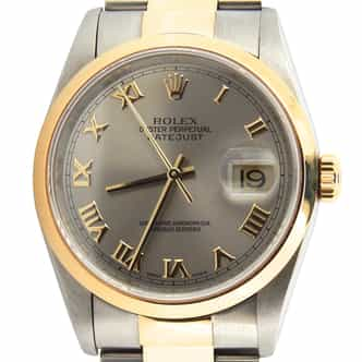 Mens Rolex Two-Tone Datejust Slate Gray Roman 16203 (SKU U233329AMT)