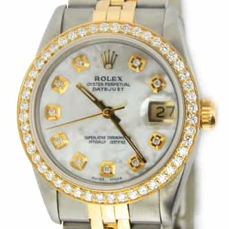 Mid Size Rolex Two-Tone Datejust White MOP Diamond 68273 (SKU 9577878MT)