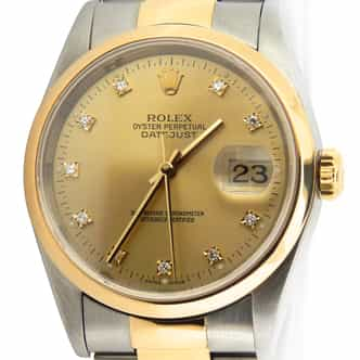 Mens Rolex Two-Tone Datejust Champagne Diamond 16203 (SKU 16203DDAMT)