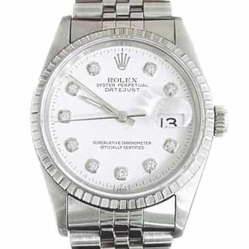 Mens Rolex Stainless Steel Datejust White Diamond 16220 (SKU T733715MT)