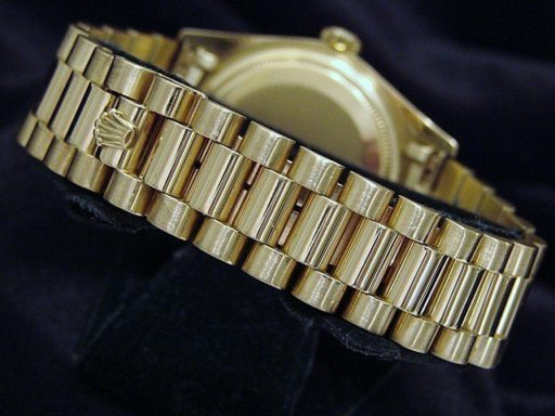 Rolex 18K Yellow Gold Day-Date President 18038 Silver Diamond-2