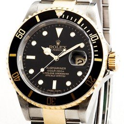 Mens Rolex Two-Tone 18K/SS Submariner Black  16613T (SKU 16613T111MT)