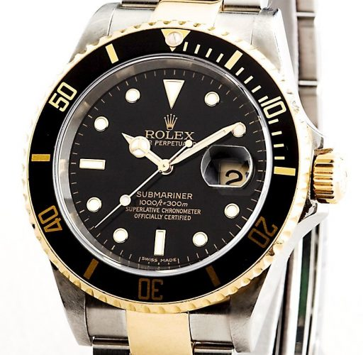 Rolex Two-Tone Submariner 16613T Black