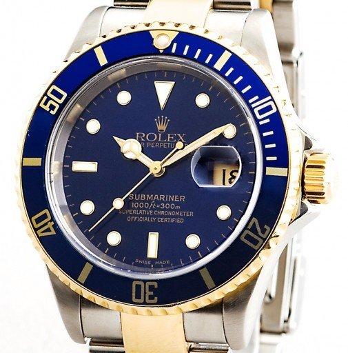 Rolex Two-Tone Submariner 16613T Blue