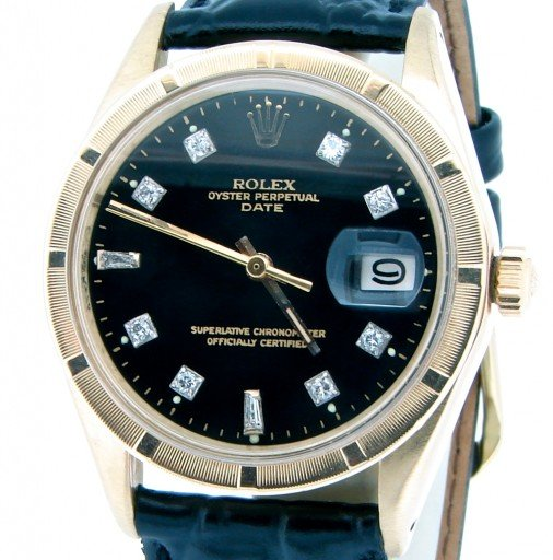 Rolex 14K Yellow Gold Date 1501 Black Diamond-1