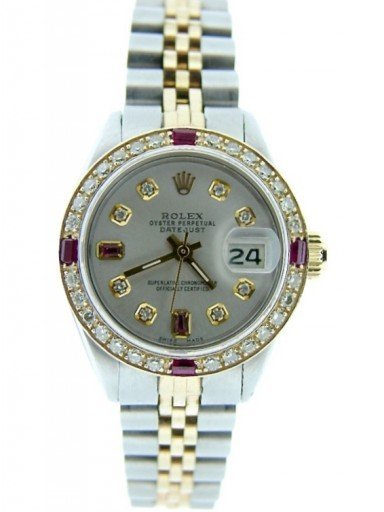 Rolex Two-Tone Datejust 6917 Silver Diamond Ruby-7