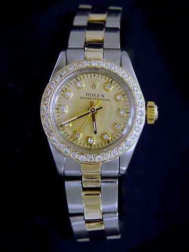 Rolex Two-Tone Oyster Perpetual 6719 Champagne Diamond-4