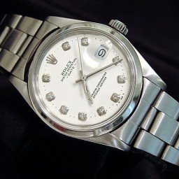 Mens Rolex Stainless Steel Date White Diamond 1500