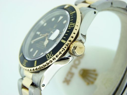 Rolex Two-Tone Submariner 16803 Black -5