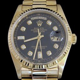 Mens Rolex 18K Gold Day-Date President Black  18038 (SKU 5909029AMT)