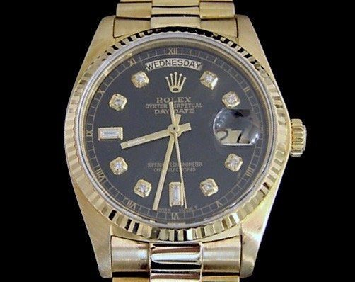 Rolex 18K Yellow Gold Day-Date President 18038 Black -1