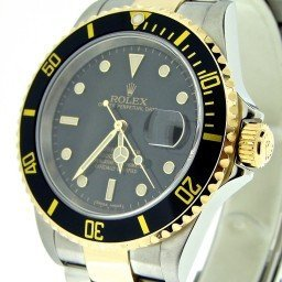 Mens Rolex Two-Tone 18K/SS Submariner Black  16613T