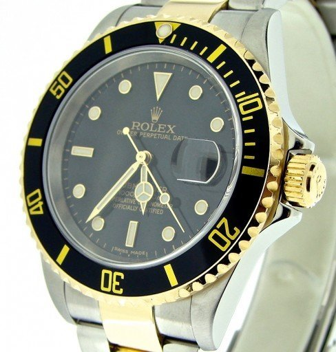 Rolex Two-Tone Submariner 16613T Black -1